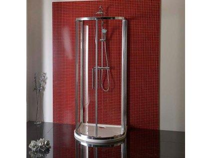 LUCIS LINE půlkruhová sprchová zástěna 900x900mm, čiré sklo