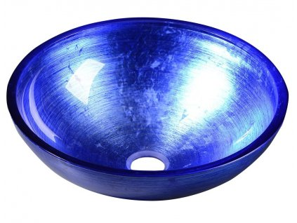MURANO BLU, skleněné umyvadlo kulaté 40x14 cm, modrá
