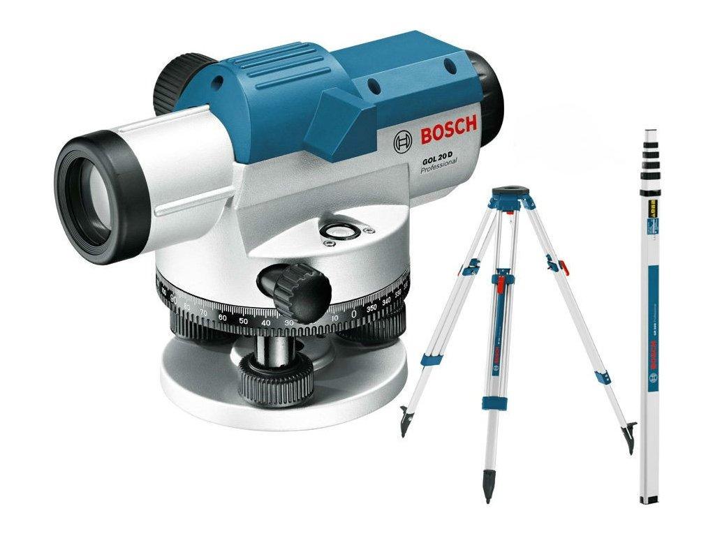 Optický nivelační přístroj Bosch GOL 20 D + BT160 + GR500