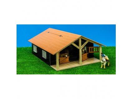 Kids Globe Dřevěná stodola se stájemi pro koně 1:24
