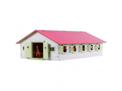 Kids Globe Stáj pro koně s 9 boxy a růžovou střechou 1:32