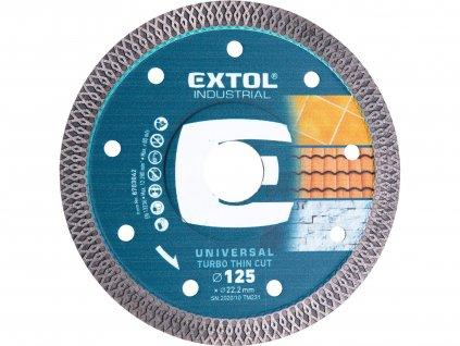 kotouč diamantový řezný, turbo Thin Cut, suché i mokré řezání, O 125x22,2x1,5mm, EXTOL INDUSTRIAL