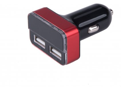 Nabíjačka USB do auta, 12-24V, výstup 5V/3,1A, 2xUSB, LCD, 12V/24V, 2xUSB (1A/5W, 3,4A/17W), LCD, úč