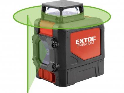 Vodováha laserová samonivelačná, 1D1V(1H360+1V), zelený laser, EXTOL PREMIUM