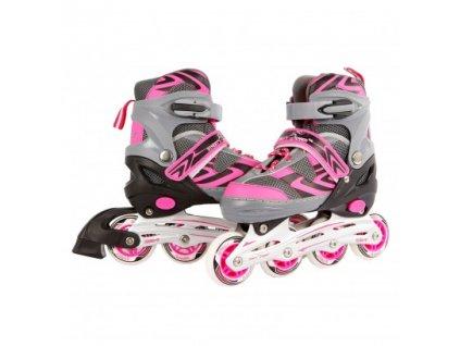 Kolieskové korčule ružová/sivá, nastaviteľná veľkosť 35 - 38