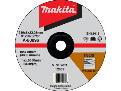 Makita A-80896 Brusný kotouč ?230 x 6 x 22 mm, na ocel a nerezovou ocel