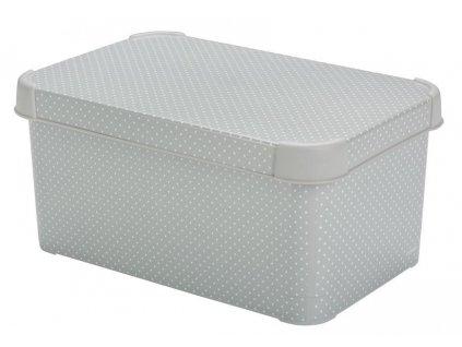 Box Curver® DECO STOCKHOLM S, Grey/dots, 30x14x20 cm