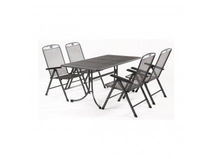 MWH Basanis 4+ sestava nábytku z tahokovu (4x pol. křeslo Savoy, 1x stůl Universal 160)