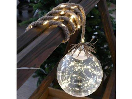 Reťaz MagicHome Vianoce Balldeco, žiarovky, lano, 50 mLED teplá biela, 3xAA, IP20, interiér, L-0,50