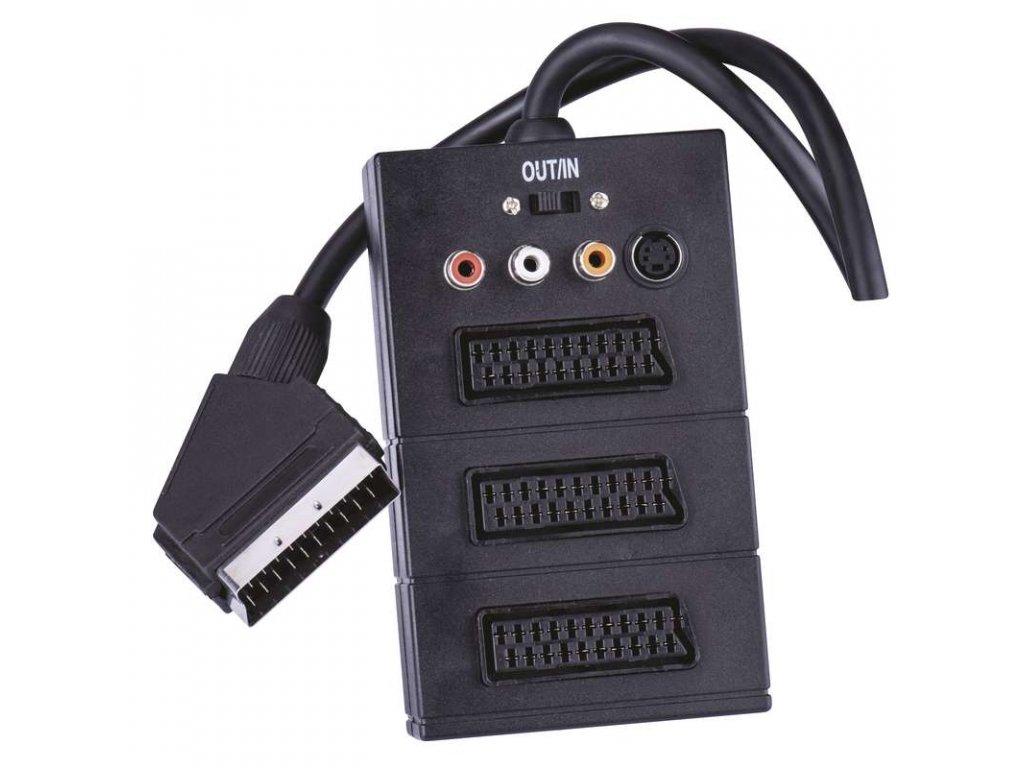 Kábel SCART->3xSCART+3RCA+SVHS 0,5m  + VOUCHER - zľavový kupón