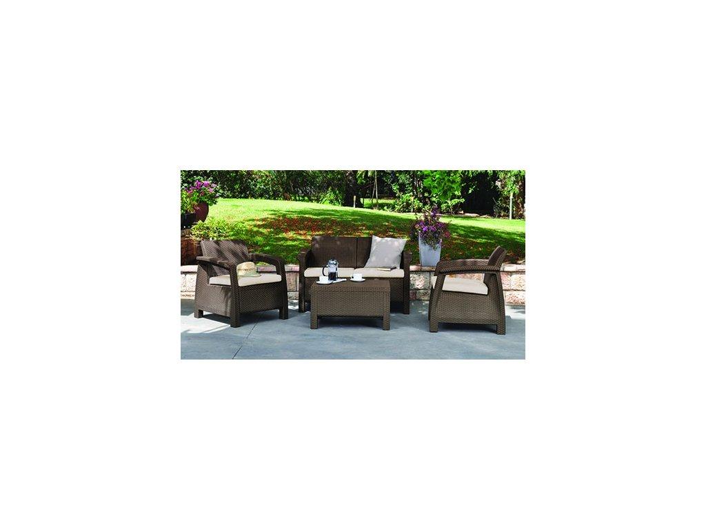 Záhradný set CORFU cappuccino + pieskové podušky