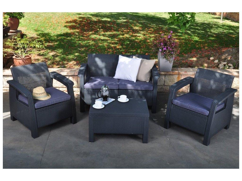 Záhradný set CORFU anthracit + grey