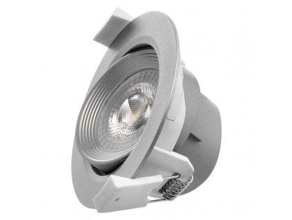 LED bodové svietidlo strieborné, kruh 5W teplá biela