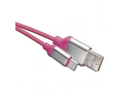 USB kábel 2.0 A/M - C/M 1m ružový  + VOUCHER - zľavový kupón