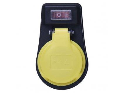 Zásuvka s vypínačom, IP44, čierna