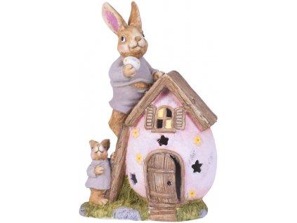 Dekoracia Gecco 2219, Zajace s domčekom, magnesia, 31x22x48 cm