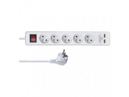 Predlžovací kábel s vypínačom – 5 zásuvky, 2m, biely + 2×USB