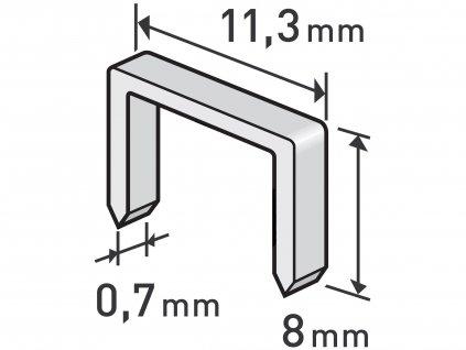 Spony 8mm, 11,3x0,52x0,70mm, balenie 1000ks