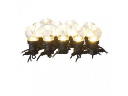 LED svetelná reťaz – 10× párty žiarovky číre, 5m, teplá b.