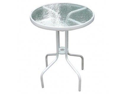 Stôl LEQ BRENDA, 72x60 cm, sklo, biely
