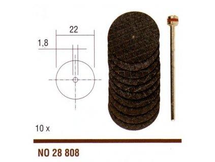 PROXXON Rezné viazané kotúče z oxidu hliníka 10ks/22mm + upínacia stopka .(28808)