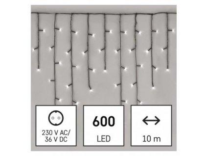 LED vianočné cencúle, 10 m, vonkajšie aj vnútorné, studená biela, programy