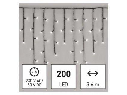 LED vianočné cencúle, 3,6 m, vonkajšie aj vnútorné, studená biela, programy