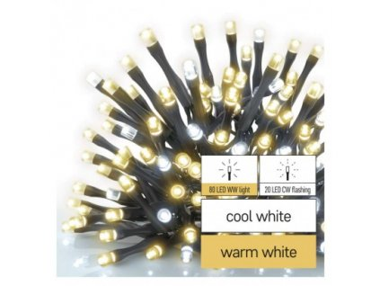 Standard LED spojovacia vianočná reťaz blikajúca, 10 m, vonkajšia, teplá/studená biela