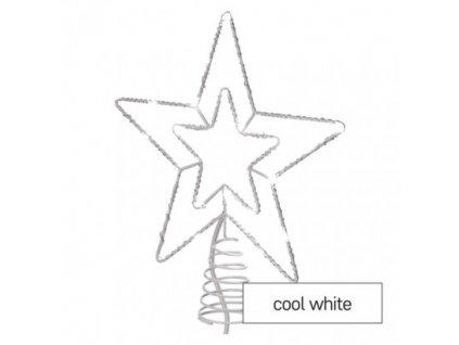 Standard LED spojov. vianoč. hviezda, 28,5 cm, vonkaj. aj vnútor., studená biela, časovač
