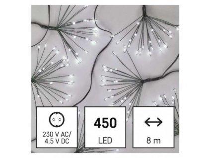 LED svetelná reťaz – svietiace trsy, nano, 8 m, vnútorná, studená biela, časovač