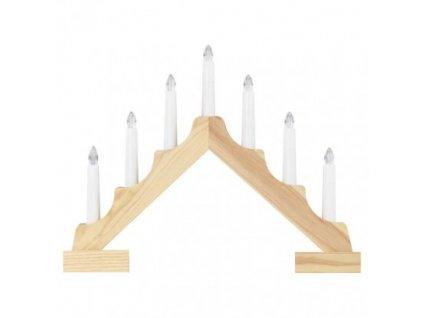 LED svietnik drevený, 29 cm, 2x AA, vnútorný, teplá biela, časovač