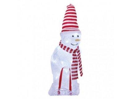 LED vianoč. snehuliak s čiapkou a šálom, 46 cm, vonkaj. aj vnútor., studená biela, časovač