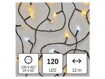 LED vianočná reťaz pulzujúca, 12 m, vonkajšia aj vnútorná, teplá/studená biela