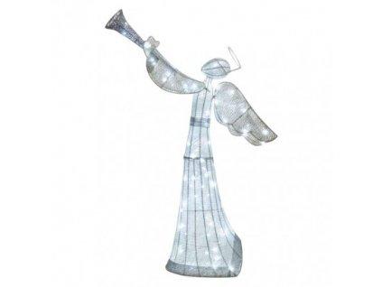 LED vianočný anjel ratanový, 130 cm, vnútorný, studená biela