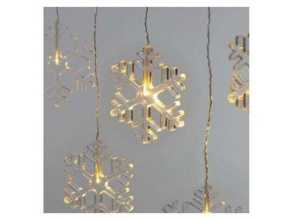 LED vianočný záves – snehové vločky, 84 cm, vnútorný, teplá biela