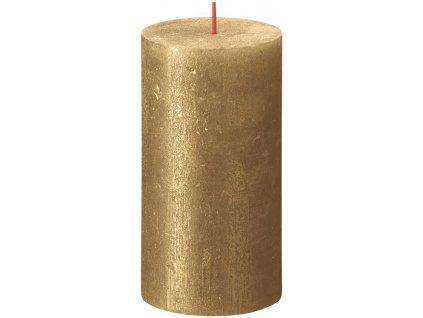 Sviečka Bolsius Rustik Shimmer, valec, zlatá, 60 hod., 68x130 mm