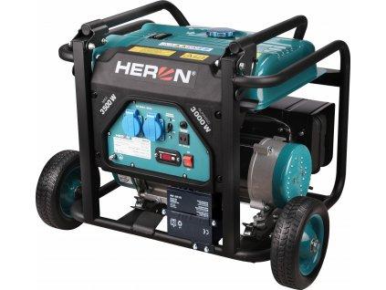 Elektrocentrála rámová benzínová, 230V, 3,5kW, 7,5HP, podvozok, elektrický start, HERON