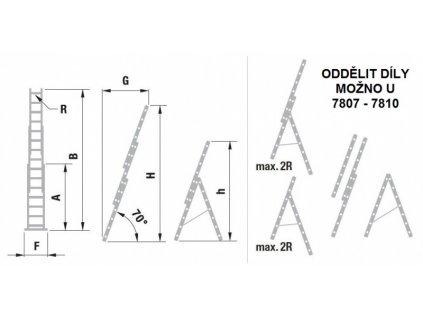 Rebrík trojdielny univerzálny s úpravou na schody ALVE EUROSTYL 3x9 (2,58m)