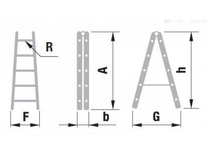 Rebrík štafla ALVE FORTE 2x10 (2,94m)