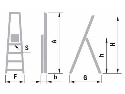 Schodíky jednostranné hliníkové ALVE EUROSTYL 1x8 (2,43m)