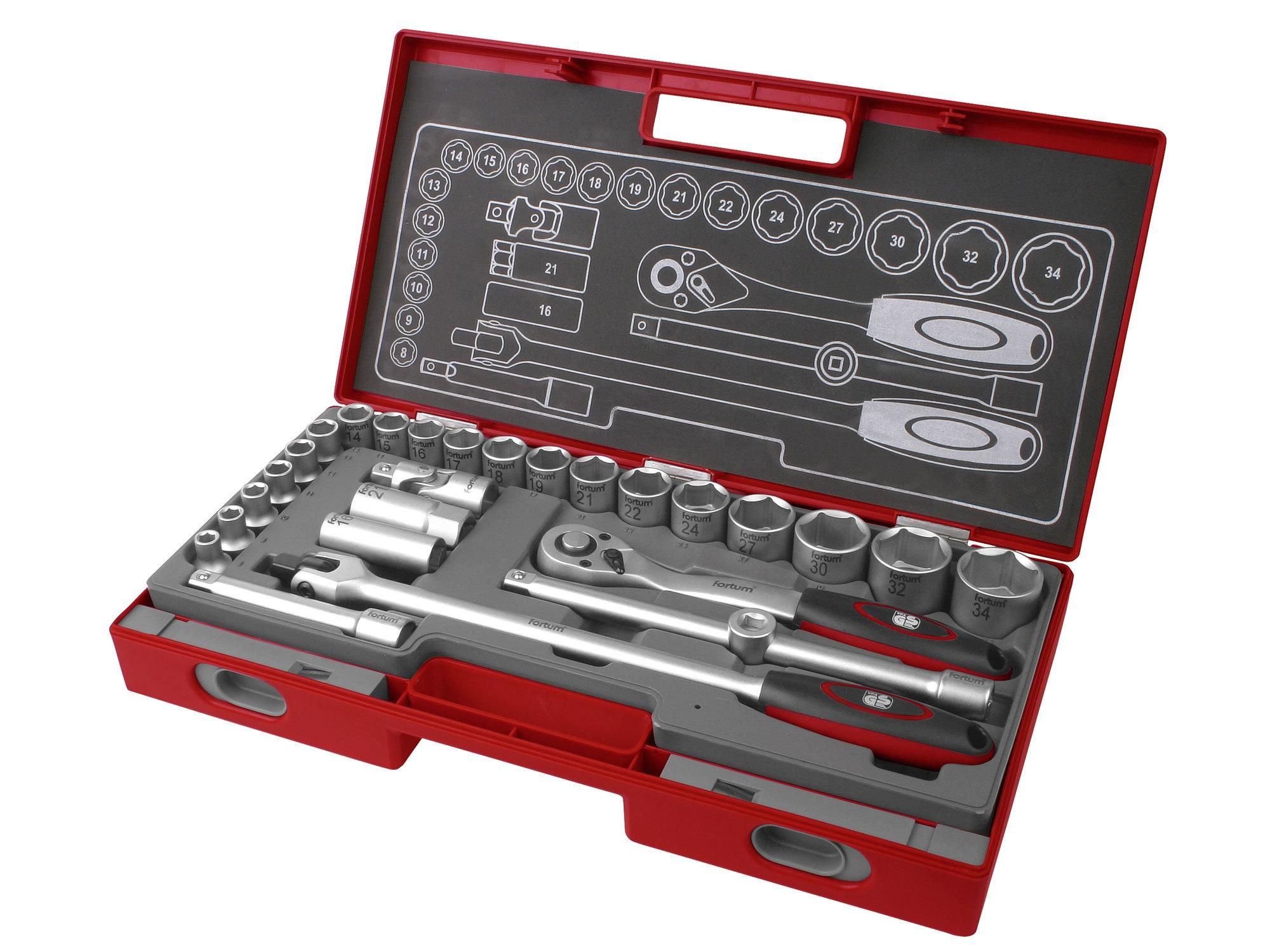 Sada nástrčných kľúčov, 27-dielna, FORTUM 4700014