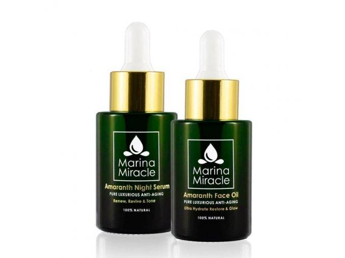 Marina Miracle - Veľké výhodné balenie Amaranth Face Oil & Amaranth Night Serum