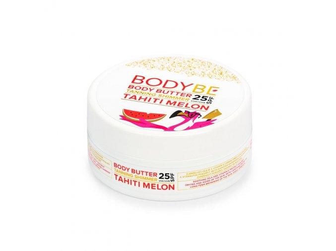BODYBE TAHITI MELON BODY BUTTER Opaľovacie maslo SPF 25 s trblietavým efektom – Tahiti Melóne (150 ml)