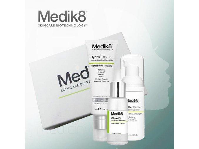 Medik8 Balíček od nás: hydratačný pleťový olej s vitamínom C, revitalizačný denný krém, čistiaca pena