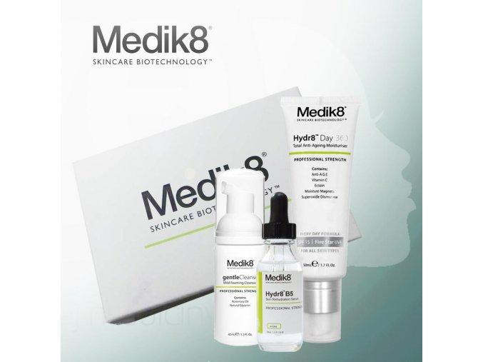 Medik8 Balíček od nás: revitalizačný denný krém, hydratačné sérum na pokožku, čistiaca pena