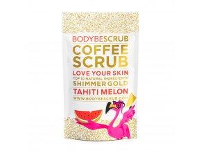 BODYBE Scrub – Kávový peeling s trblietavým efektom Tahiti Melón – 100g