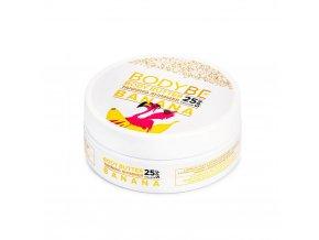 BODYBE BANANA BODY BUTTER Opaľovacie maslo SPF 25 s trblietavým efektom – Banán v čokoláde (150 ml)