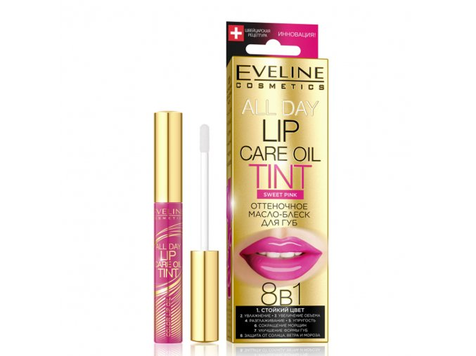 Eveline cosmetics All Day tint Barevný olej na rty Swee pink   evelio.cz