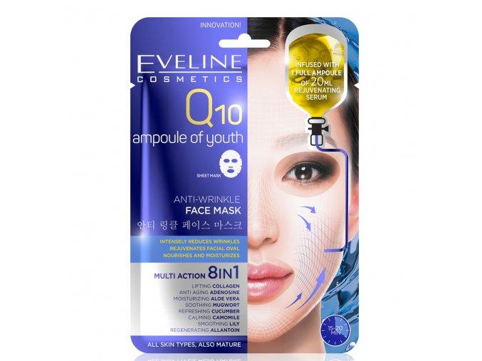Eveline cosmetics Q10 Multi action 8v1 plachtová maska, protivrásková maska | evelio.cz