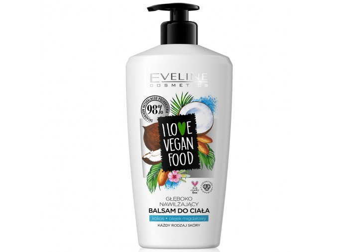 Eveline cosmetics I love vegan food Tělový balzám kokos a mandlový olej | evelio.cz